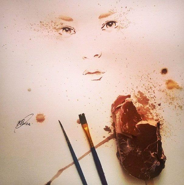 Картины Османа Томы, нарисованные мороженым (5 фото)
