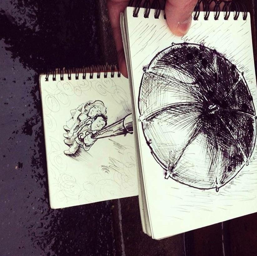 Рисунки, сливающиеся с реальностью (13 фото)