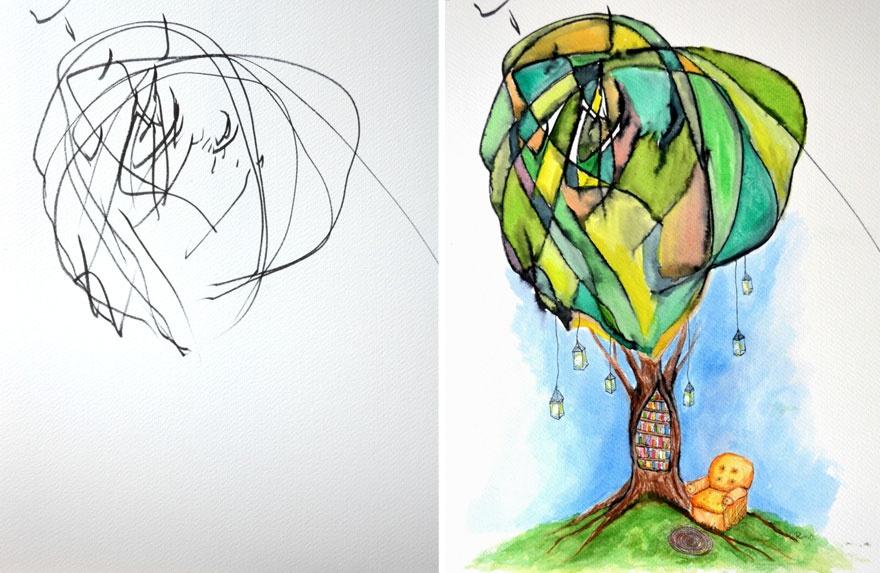 Детские каляки-маляки становятся иллюстрациями (5 фото + 1 видео)