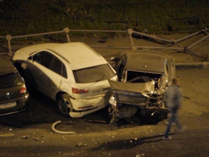 Очень серьезные последствия аварии в районе Ходынского поля (5 фото)