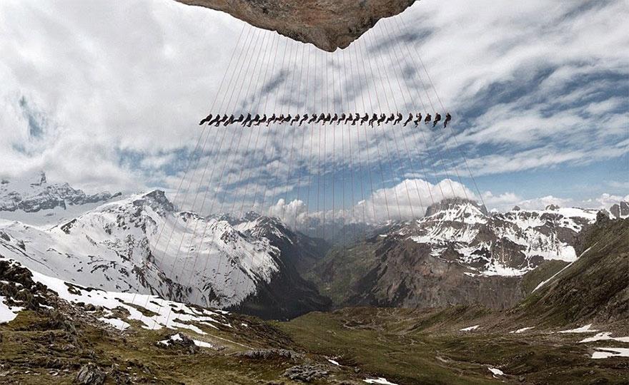 Сотни альпинистов устроили в Альпах эпическую фотосессию (14 фото)