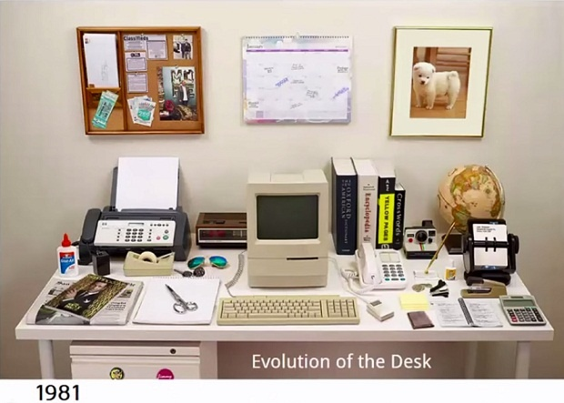 Как изменился рабочий стол за 34 года (1 фото + 1 видео)
