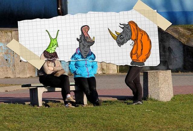 Веселые рисунки, преображающие прохожих (19 фото)