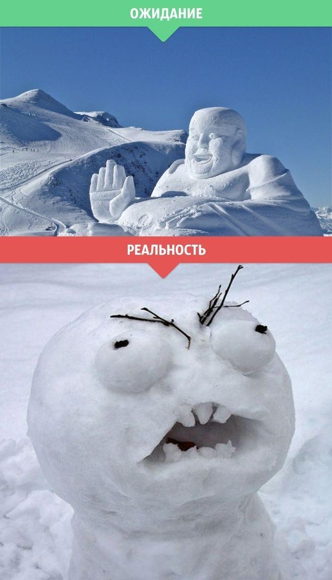 Зима в ожиданиях и в реальности (14 фото)