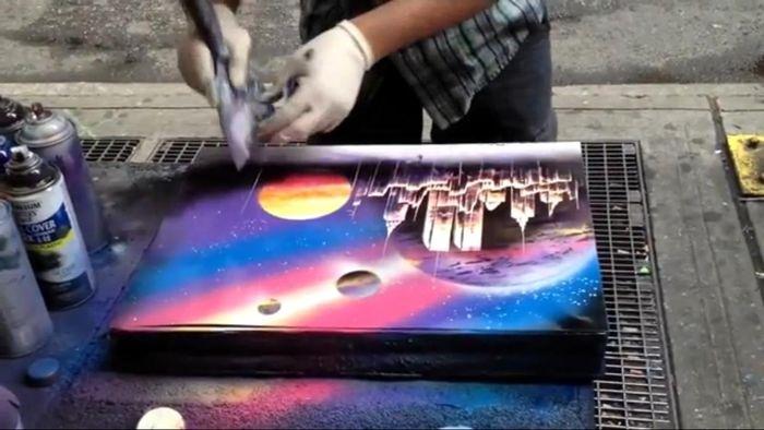 Уличный художник создает превосходную картину за 6 минут (1 фото + 1 видео)