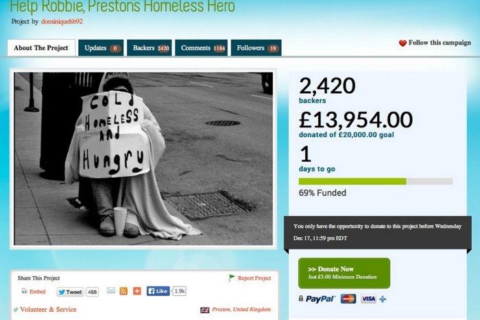 Великобритания: бездомный с добрым сердцем (4 фото)