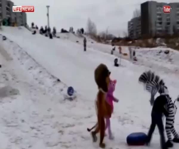 Зебра с друзьями избила хулигана в Красноярске