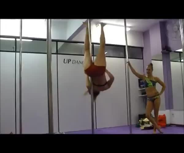 Гимнастка и стриптизерша у шеста