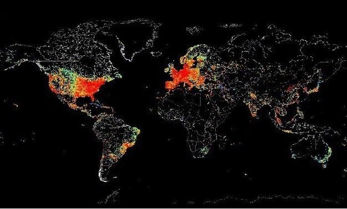 Распределение пользователей интернета в мире (5 фото)