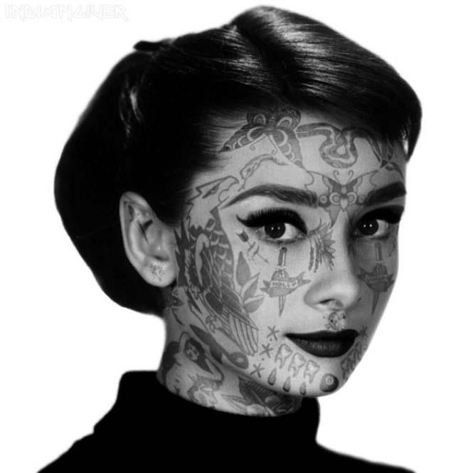 Татуировки звезд, выполненные с помощью фотошопа