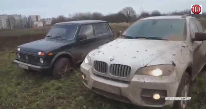 Нива и БМВ X6 - кто кого