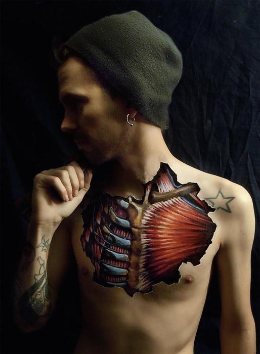 Анатомический боди-арт (9 фото)