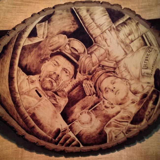 Необычные картины, выжженные на дереве (14 фото)
