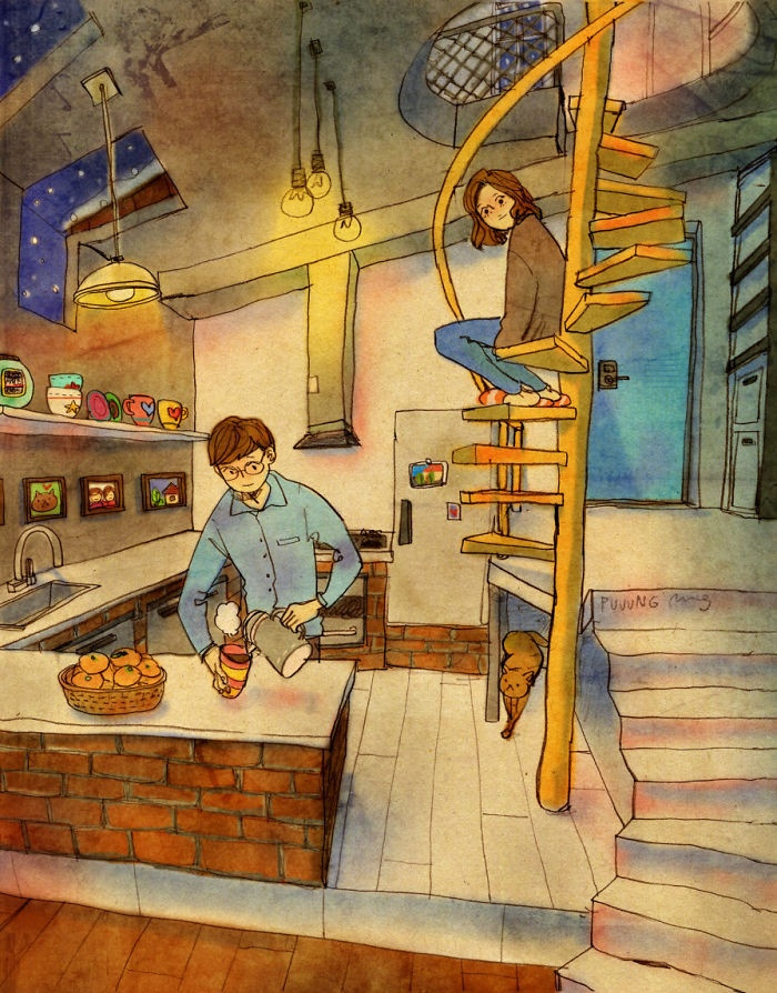 Любовь в повседневной жизни от художника Puung (50 картинок)