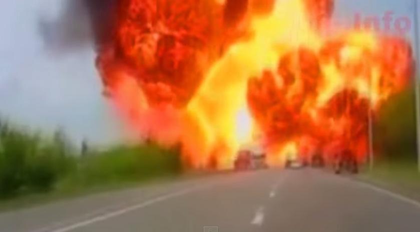 Взрыв цистерны с краской на трассе в районе Ставрополя