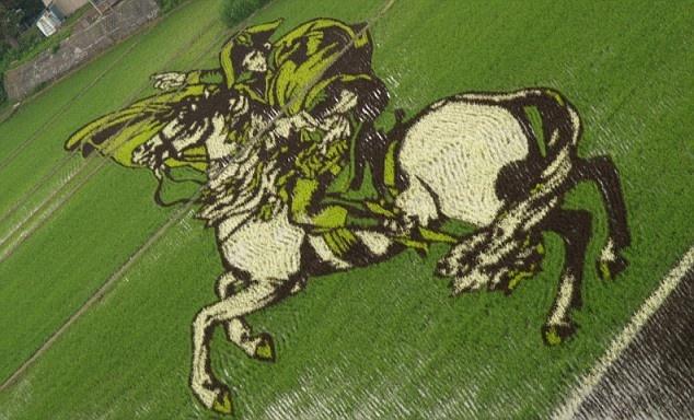 Необычные рисунки на рисовых полях (14 фото)