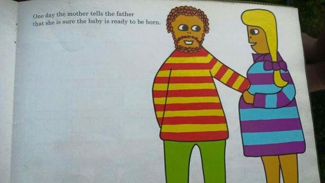 """Книжица для детей на тему """"Откуда берутся дети"""", изданная в 1975 году (16 картинок)"""