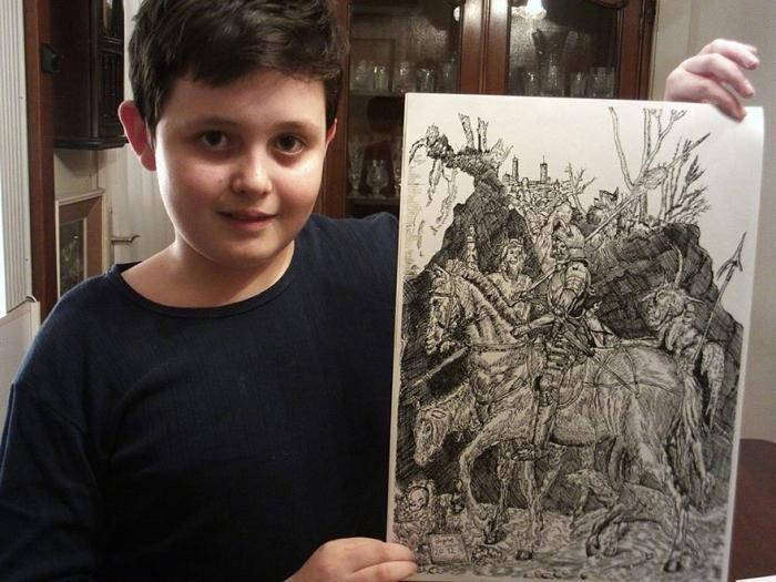 Невероятно хорошая техника рисунка 11-летнего мальчика (13 фото)