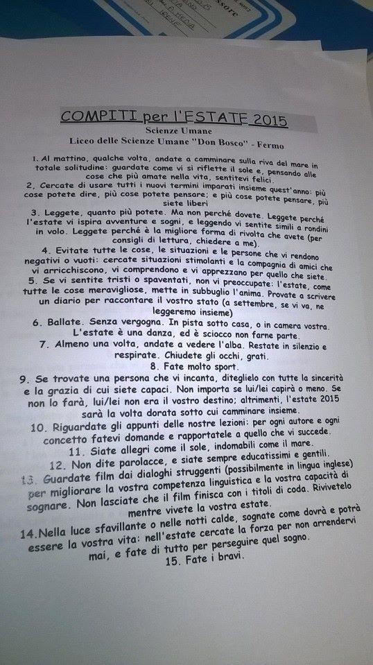 Домашнее задание на лето от итальянского учителя