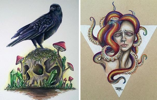 Необычные рисунки 17-летней девушки (7 фото)