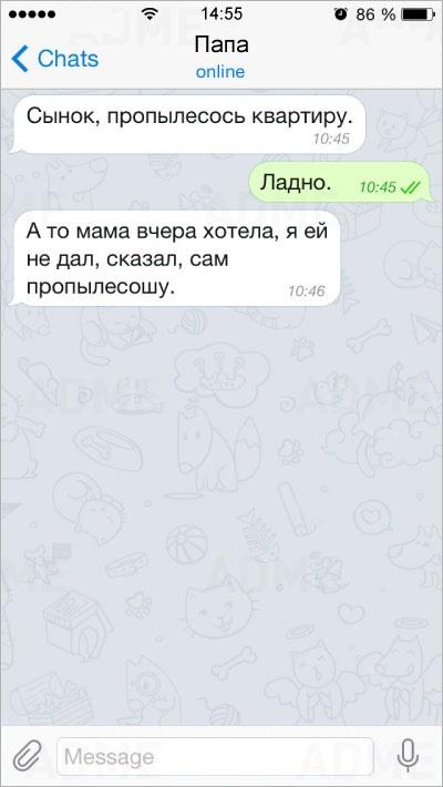 Забавные СМС от родителей (15 фото)