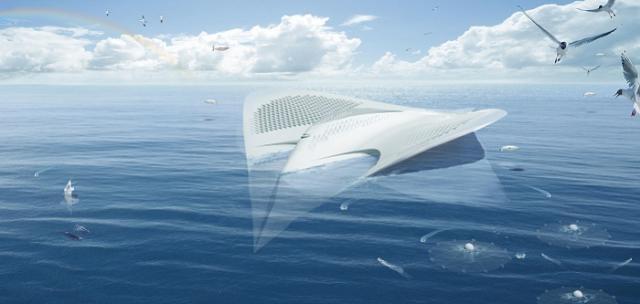 Фантастический проект города на воде, в виде ската (5 фото)
