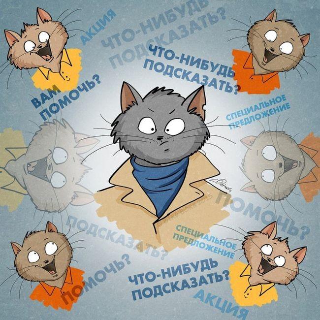 Коты в роли человека (10 картинок)