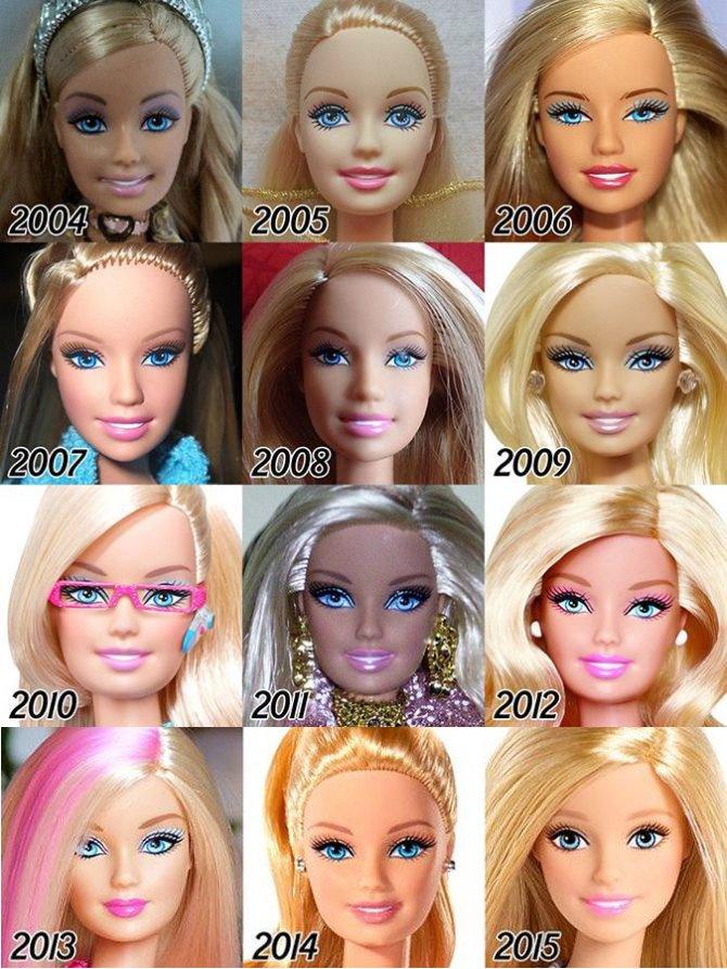 Как менялось лицо куклы Барби (6 фото)