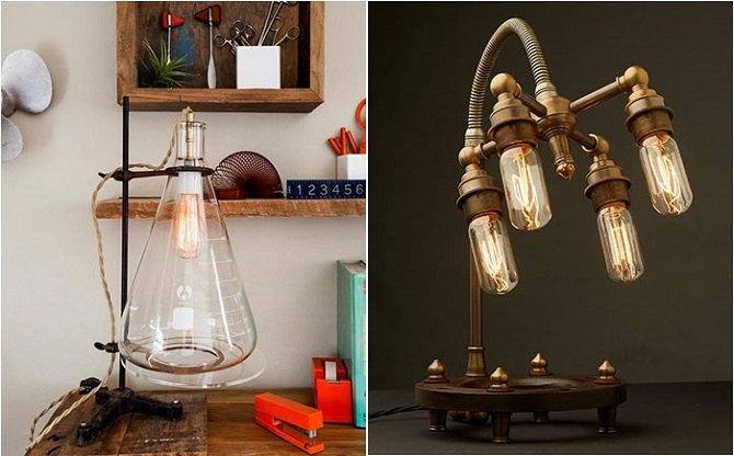 Коллекция настольных ламп в индустриальном стиле