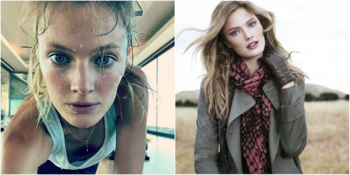 Девушки-модели Victoria's Secret с макияжем и без (23 фото)
