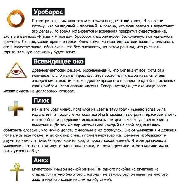 История происхождения известных символов и знаков