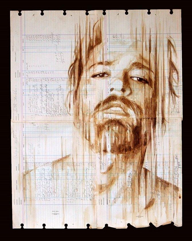 Портреты на винтажной бумаге с использованием кофе