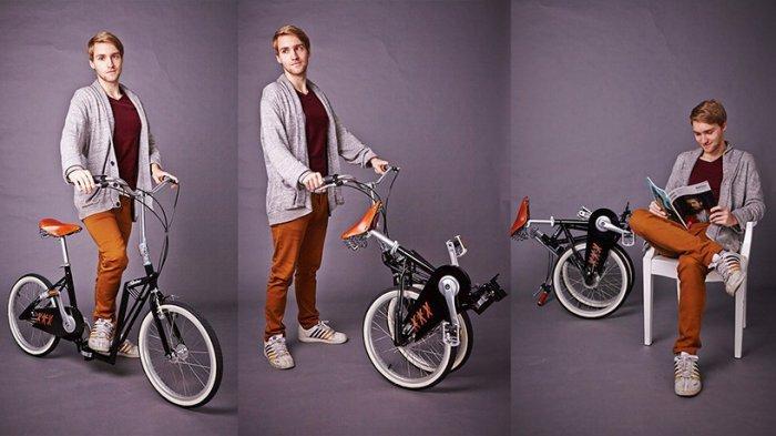 Компактный складной самокат-велосипед (10 фото)