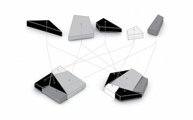 Два дома геометрической формы