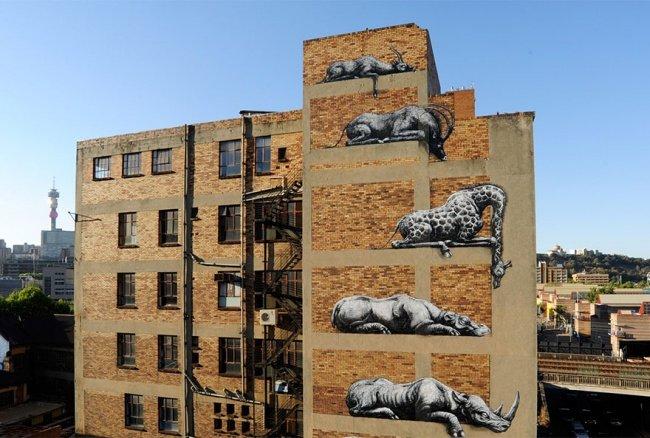 Рисунки на стенах домов