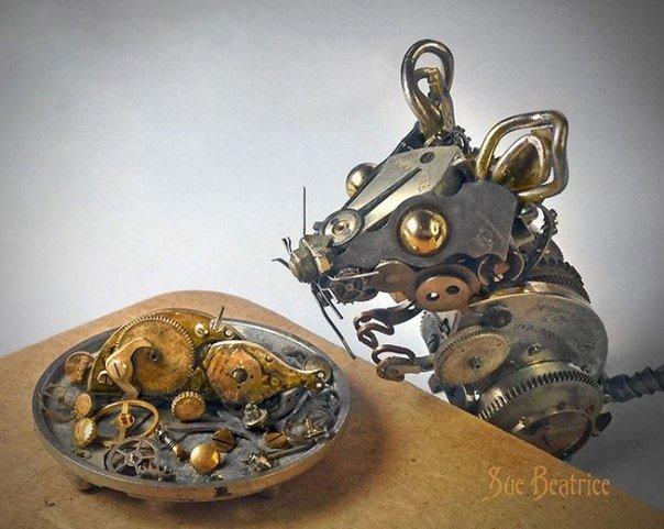 Прелестные стимпанк-зверюшки из старых часов