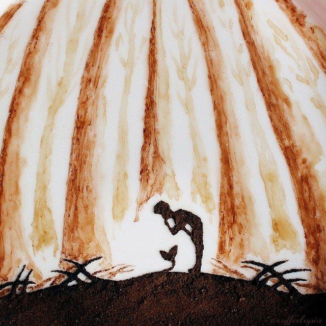 Восхитительные рисунки на листьях, нарисованных остатками утреннего кофе