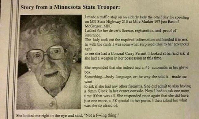 Короткая история: «Как-то раз я остановил пожилую даму за превышение скорости...»