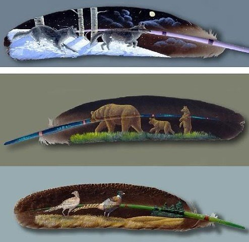 Рисунки на перьях