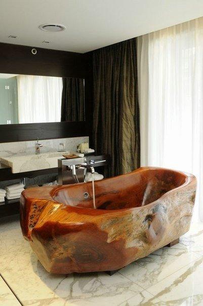 Потрясающие ванны из натуральных материалов