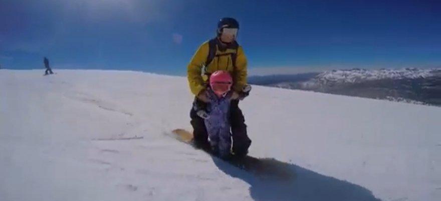 Потрясающее катание с детьми на сноуборде