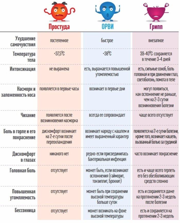 Несколько главных отличий между простудой, гриппом и ОРВИ (картинка)