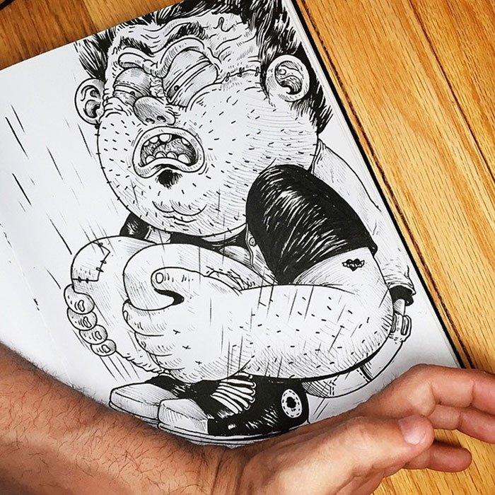 Проект где Алекс Солис, рисует персонажей которые взаимодействуют с реальным миром
