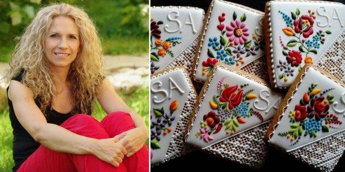Девушка украшает печенье удивительно красивыми рисунками