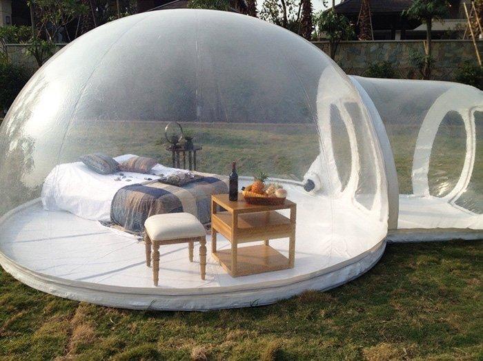 Необычная палатка-пузырь, в которой можно спать под звёздами
