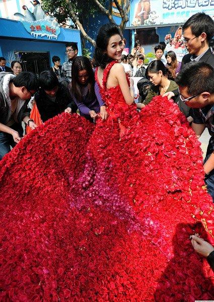 Платье сшитое из 9999 роз