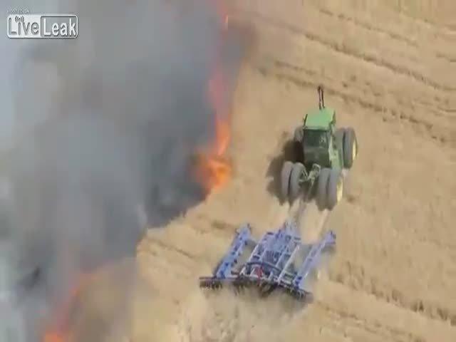 Как спасают посевы на ферме от пожара