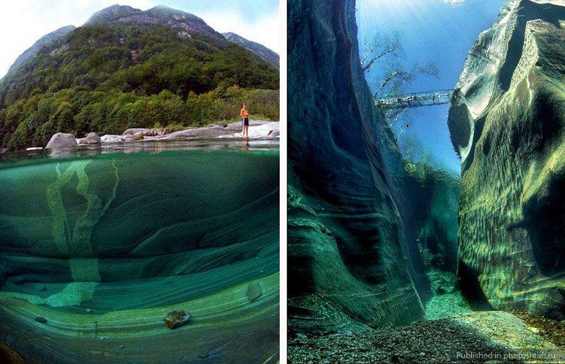 Река Верзаска с прозрачной водой