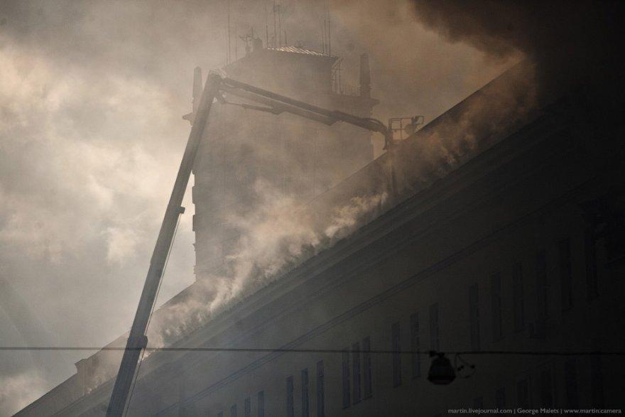 Как тушили здание Министерства Обороны