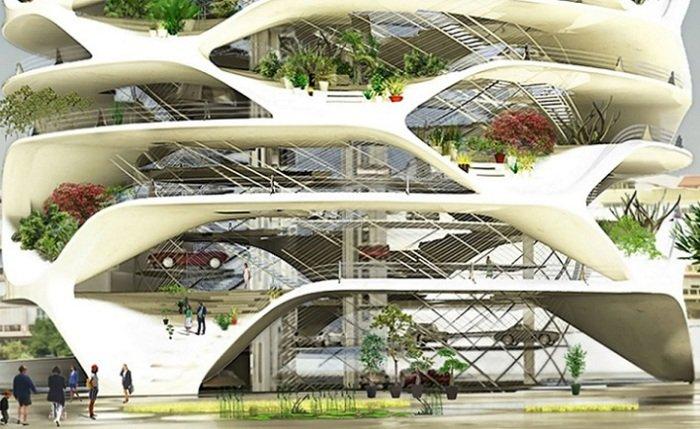 Проект небоскреба с многоуровневым автоматическим паркингом